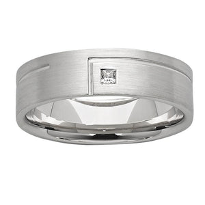 Abstract Grooved White Gold Mens Wedding Ring with Diamond