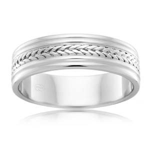 Patterned Platinum 950 Wedding Ring (J1139)