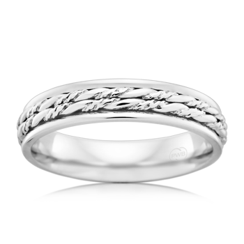 Patterned Platinum 950 Wedding Ring (J1485)