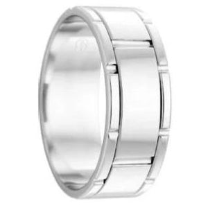 Polished and Grooved Pattern Platinum 950 Wedding Ring (J3341)