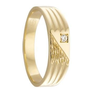 Diagonal Gold Signet Ring with Diamond and Etched Pattern