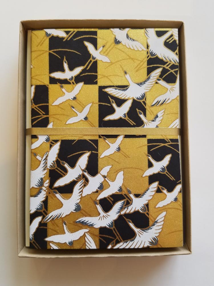 Cranes Flight Black Gold Handmade Boxed Cards