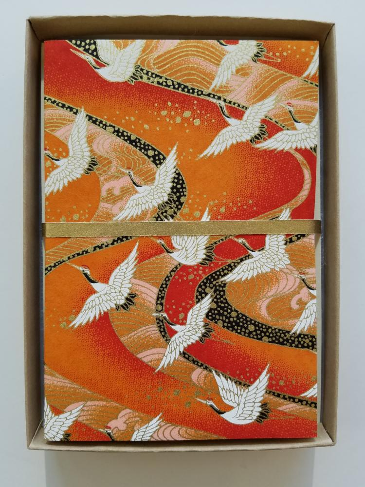 Orange Sunset Cranes Handmade Boxed Cards