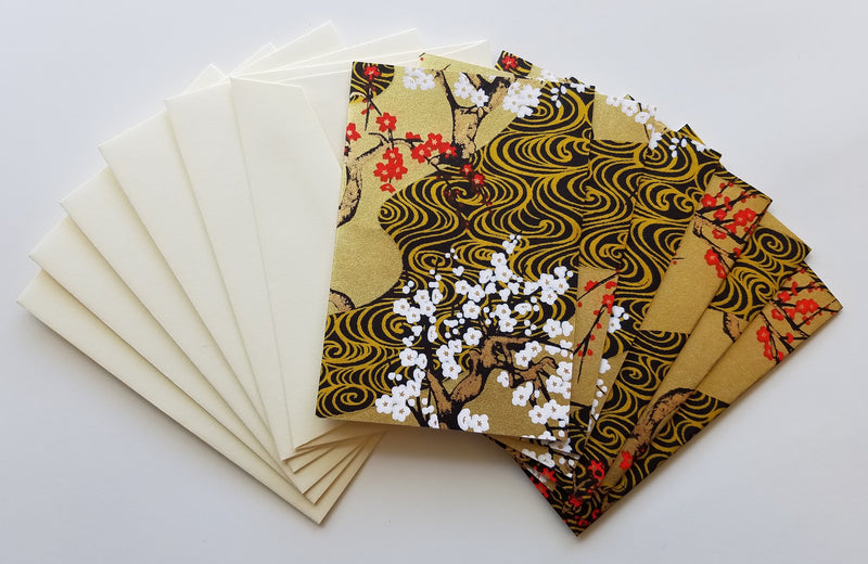Black Gold Plum River Handmade Boxed Cards
