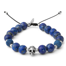 Load image into Gallery viewer, Lapis Lazuli Silver Skull Mens Bracelet