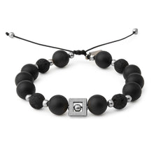 Load image into Gallery viewer, Silver Onyx Mens Bracelet