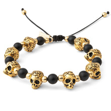 Load image into Gallery viewer, Gold Skull Mens Bracelet