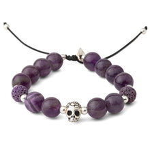 Load image into Gallery viewer, Amethyst Silver Skull Mens Bracelet