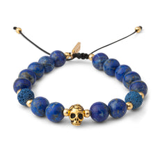 Load image into Gallery viewer, Lapis Lazuli Gold Skull Mens Bracelet