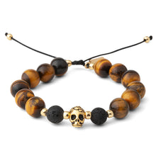 Load image into Gallery viewer, Tigers Eye Gold Skull Mens Bracelet
