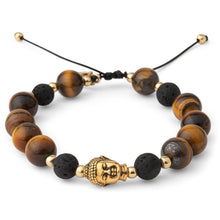 Load image into Gallery viewer, Tigers Eye Gold Buddha Mens Bracelet
