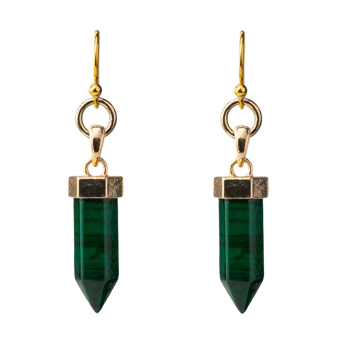Malachite Point Pendant Earring