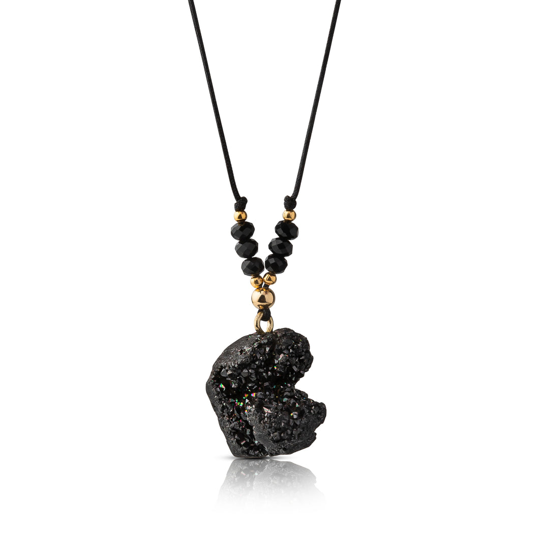 Black Adjustable Druzy Necklace