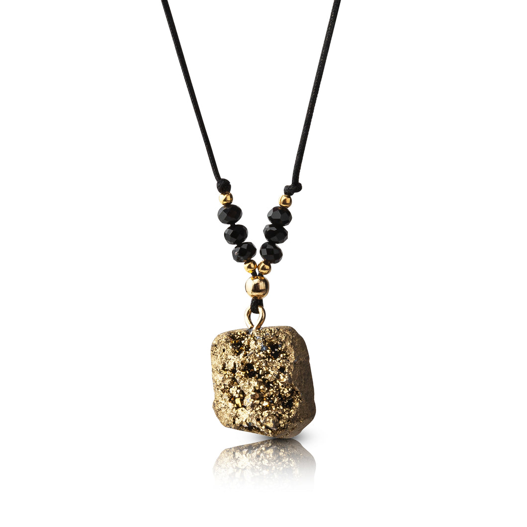 Gold Adjustable Druzy Necklace