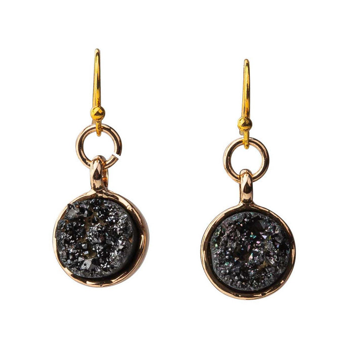 Round Black Dainty Druzy Earrings