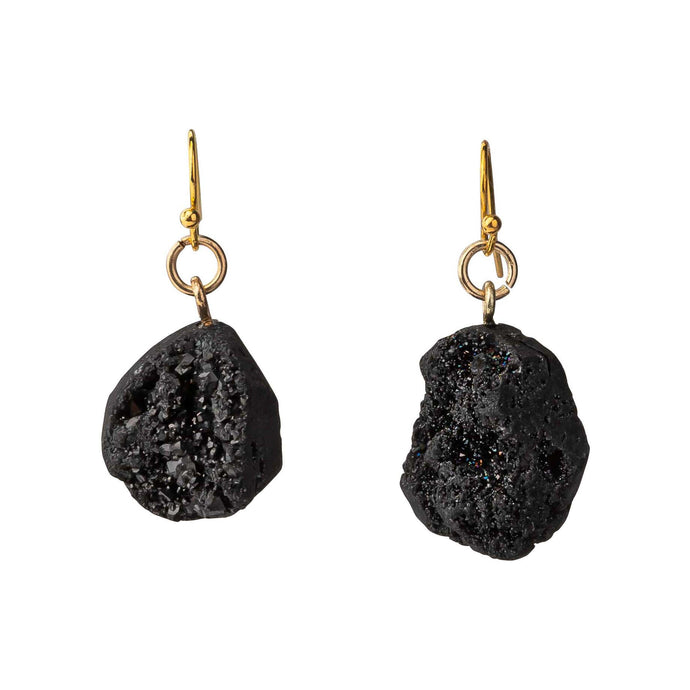 Medium Black Druzy Earrings
