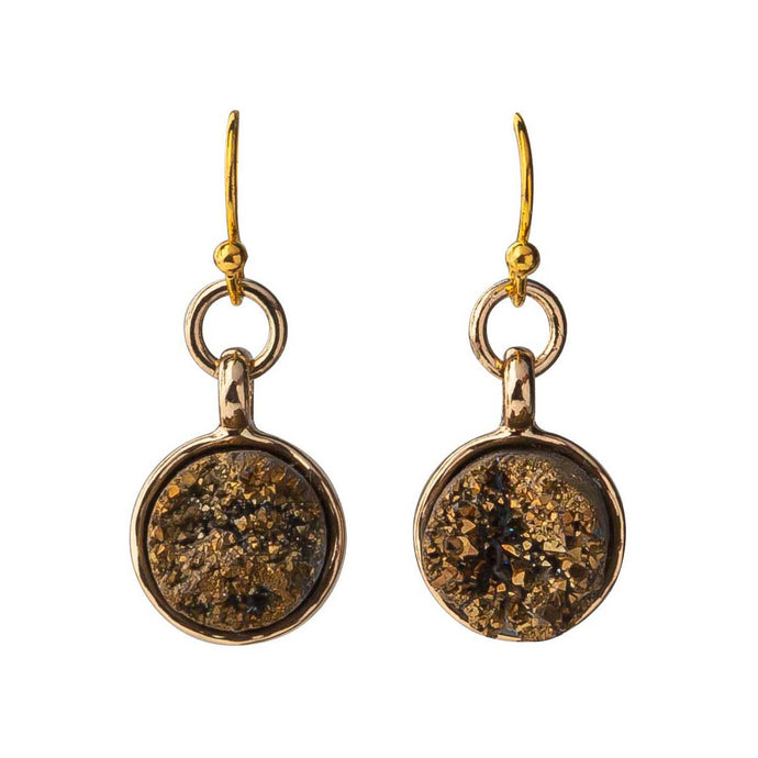 Round Gold Dainty Druzy Earrings