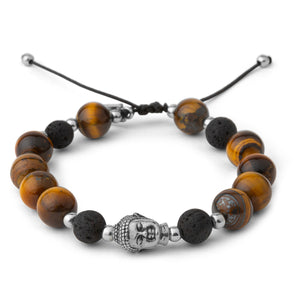 Silver Buddha Tigers Eye Mens Bracelet