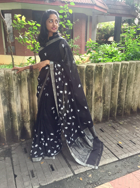 Black/White Floral Printed Mangalgiri Cotton Saree-Sarees-House of Taamara-House of Taamara