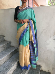 Checks Tussar/Tissue Silk Saree with Temple Border-Silk Saree-House of Taamara-House of Taamara