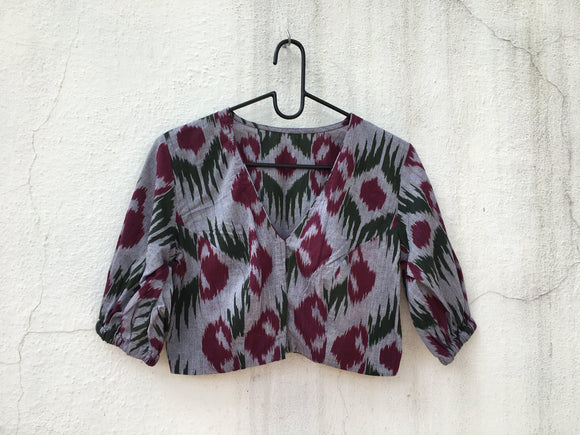 Cotton Ikat blouse, elastic at sleeve-Blouse-House of Taamara-House of Taamara
