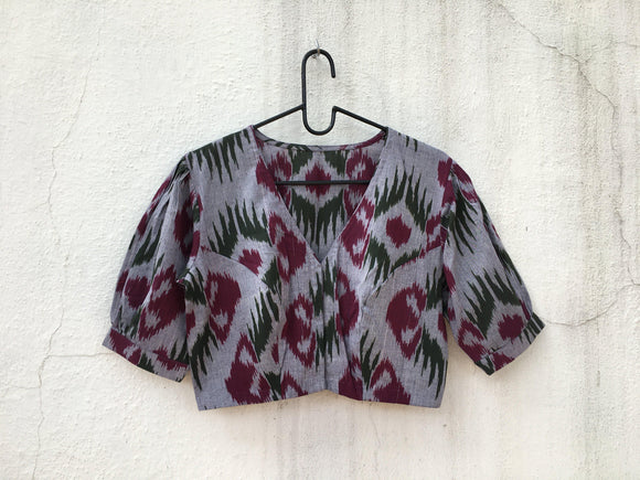 Cotton Ikat blouse, puff sleeve-Blouse-House of Taamara-House of Taamara