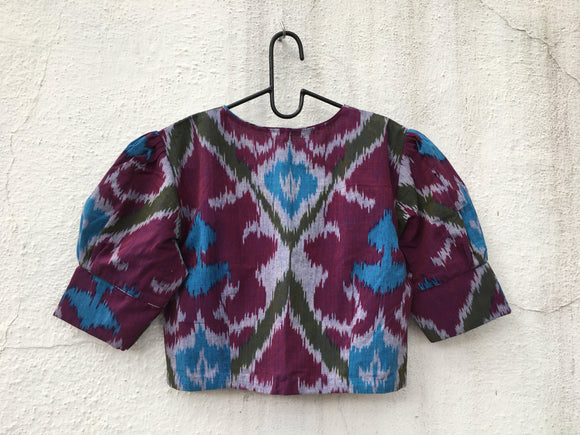 Cotton Ikat blouse, puff sleeve with slit-Blouse-House of Taamara-House of Taamara