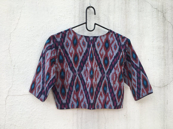 Cotton Ikat blouse, regular sleeve-Blouse-House of Taamara-House of Taamara