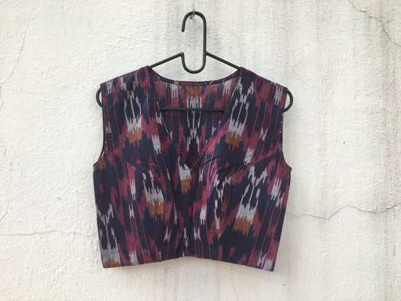 Cotton Ikat blouse, sleeveless-Blouse-House of Taamara-House of Taamara