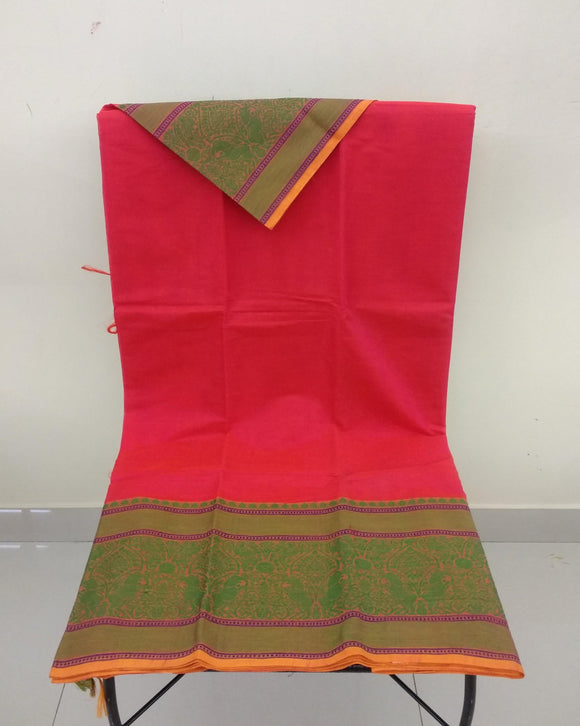 Double Shade Peach Kanchi Cotton Saree-Saree-House of Taamara-House of Taamara
