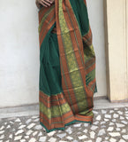 Green big bordered kanchi cotton saree-Saree-House of Taamara-House of Taamara