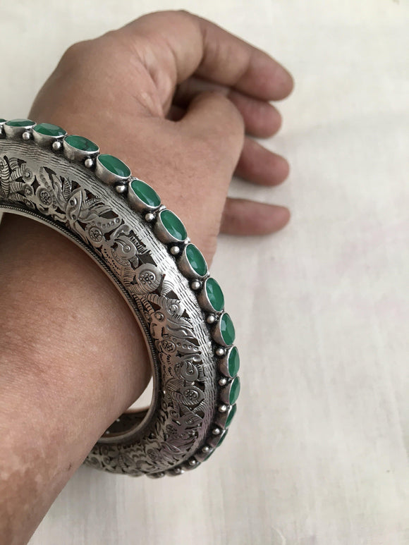 Hand engraved cut work bangle with green stones-Silver Bracelet-SU-House of Taamara