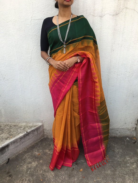 Kanchi cotton with silk border saree-Saree-House of Taamara-House of Taamara