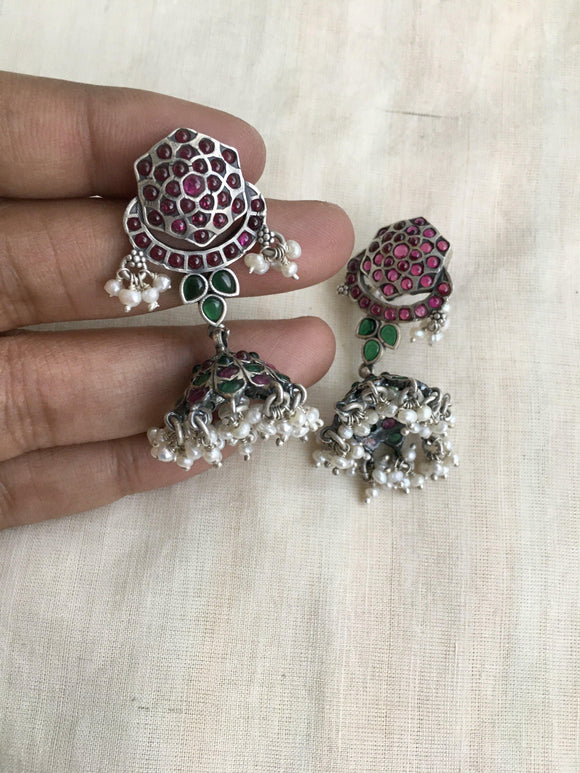 Kemp red and green jhumka with pearls-Earrings-CI-House of Taamara