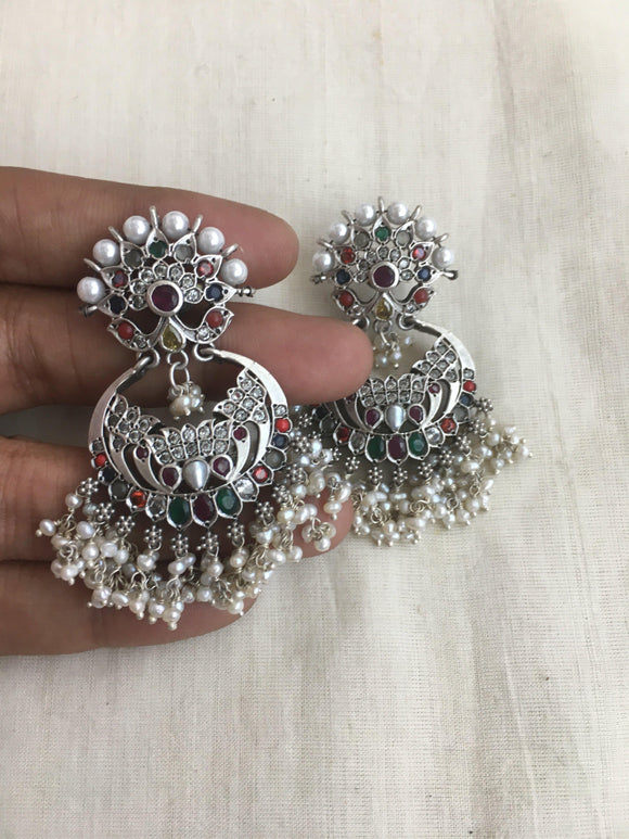 Navratan chand style earrings-Earrings-PL-House of Taamara