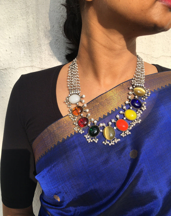 Navrathan necklace with pearls bunch-Silver Neckpiece-SU-House of Taamara