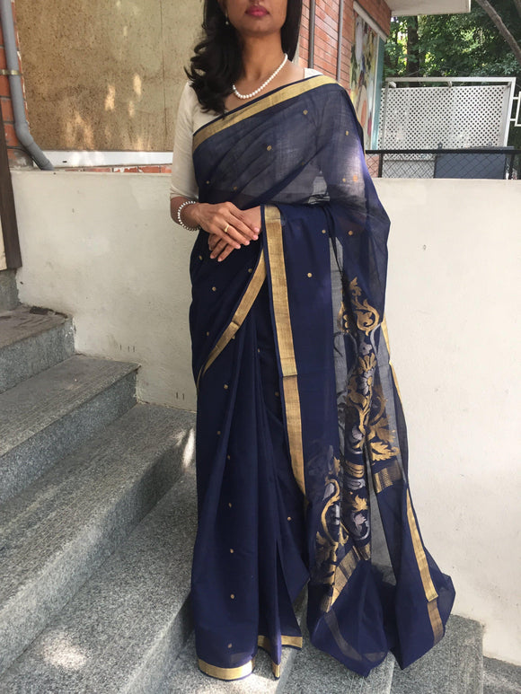 Navy Blue handloom cotton Saree with Jamdani-Sarees-House of Taamara-House of Taamara