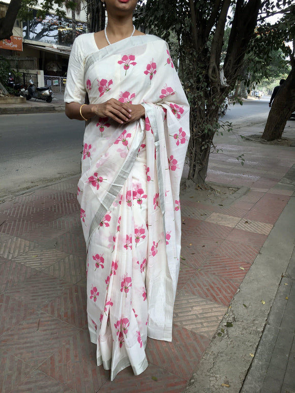 Off White/Pink Floral Printed Mangalgiri Cotton Saree-Sarees-House of Taamara-House of Taamara
