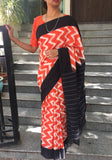 Orange/White Ikat Cotton Saree-Saree-House of Taamara-House of Taamara