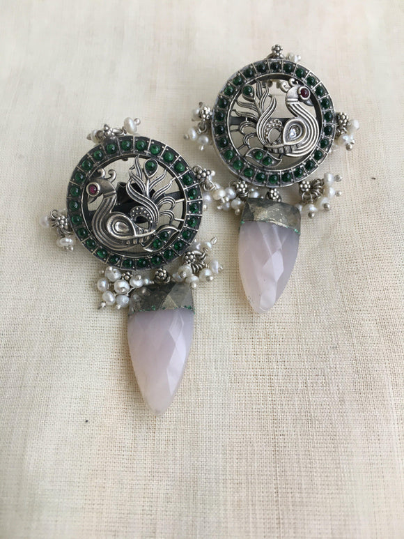 Peacock with rose quartz and kemp earrings-Earrings-CI-House of Taamara