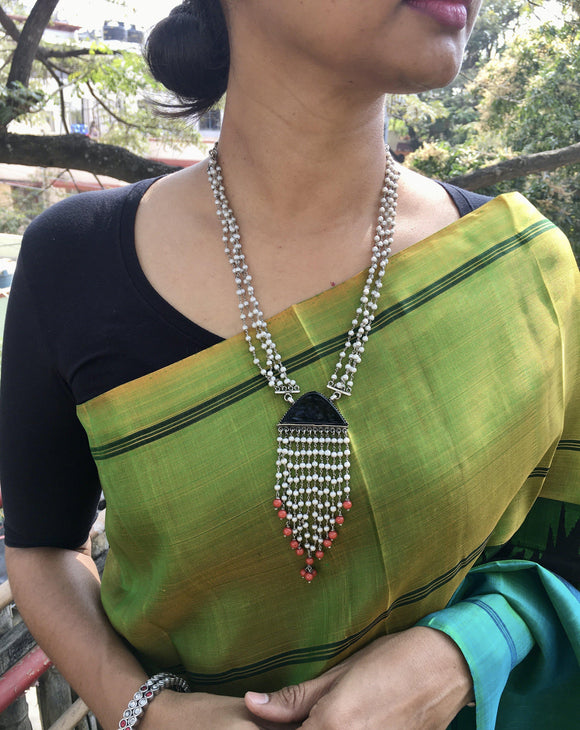 Pearls bunch with black stone & corals-Silver Neckpiece-SU-House of Taamara