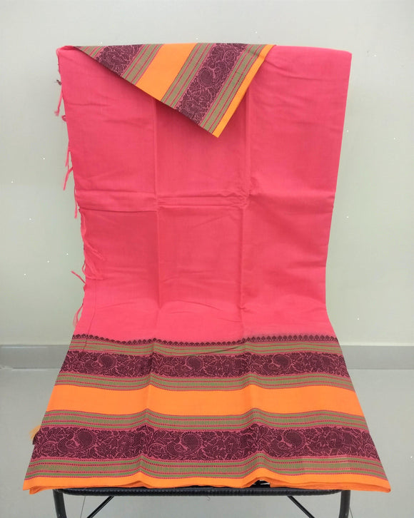 Pink Kanchi Cotton Saree-Saree-House of Taamara-House of Taamara