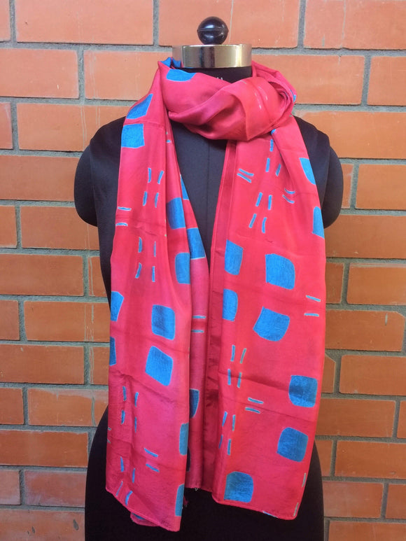 Pink/Blue Shibori Silk Stole-Silk Stole-House of Taamara-House of Taamara