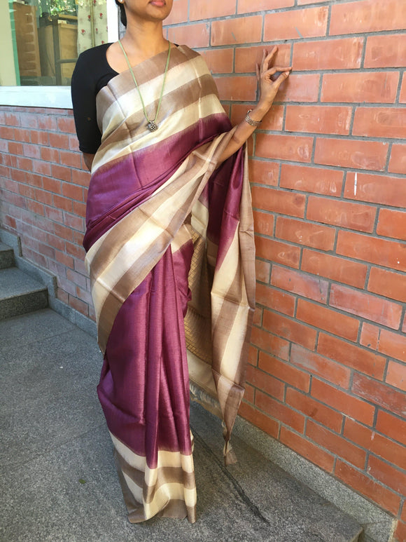 Purple Tussar Silk Saree-Silk Saree-House of Taamara-House of Taamara