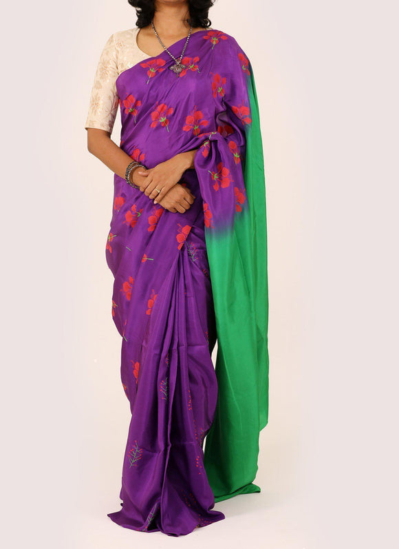 Purple/Green Printed Habutai Silk Saree-Silk Saree-House of Taamara-House of Taamara