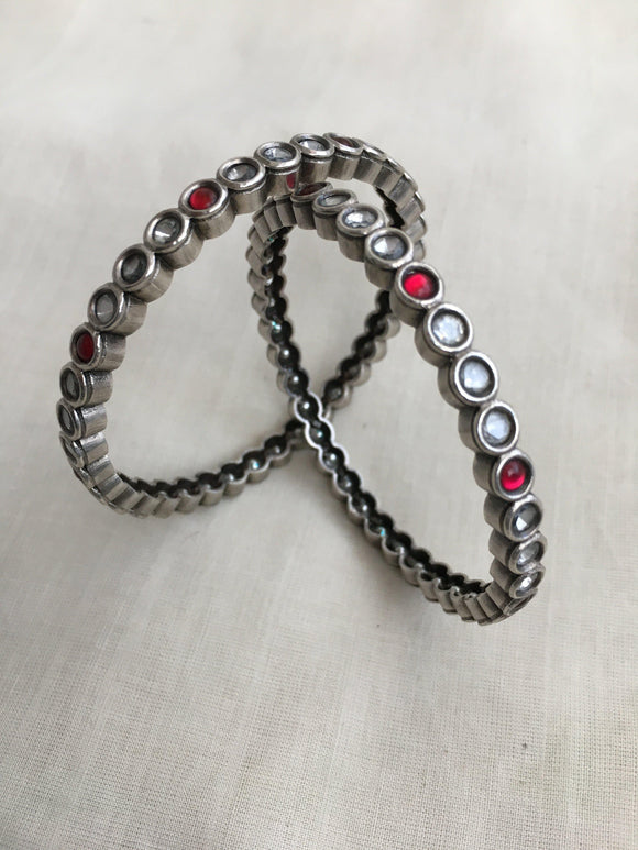 Round zircon white and ruby red stone bangles pair-Silver Bracelet-CI-House of Taamara