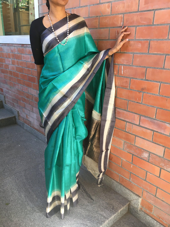 Sea Green Tussar Silk Saree-Silk Saree-House of Taamara-House of Taamara