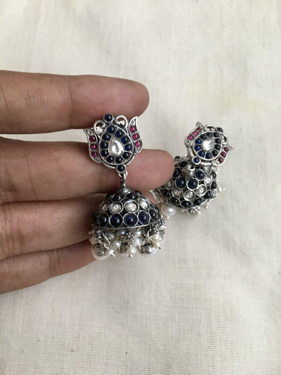 Spinal blue and kundan lotus jhumka-Earrings-CI-House of Taamara