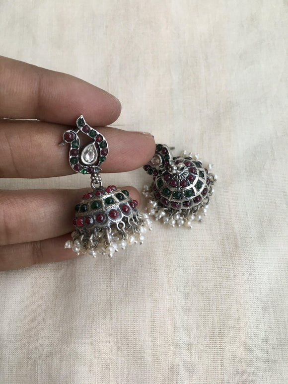 Spinal red and green peacock jhumki-Earrings-CI-House of Taamara