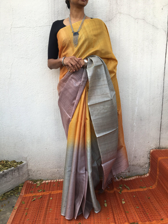Tussar Silk Saree (4 shades)-Silk Saree-House of Taamara-House of Taamara